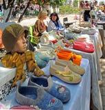 Outdoors retail of felt souvenirs Royalty Free Stock Photo