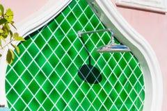 Outdoors shower beside Swimming pool. Green modern recreation building concept color texture pattern sport architecture aqua background bath bathroom bathtub stock photos