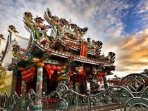 Chinese shrine with clouds and sky background in Thailand stock photography