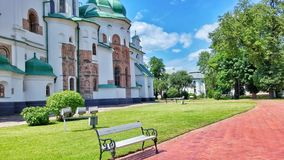 Outdoors of St. Sophia monastery, Kyiv. Lawn of the ancient monastery royalty free stock photos