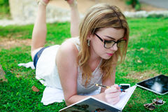 Outdoors Studying Royalty Free Stock Photography