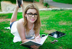 Outdoors Studying Royalty Free Stock Images
