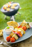 Outdoors Summer smoked tofu bbq on a table Stock Images