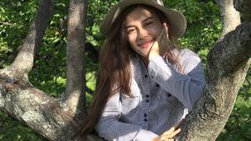Outdoors Teen Girl In Park With Tree stock footage