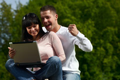 Outdoors together Stock Photo