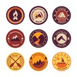 Outdoors tourism camping flat badges. Set of road mountain tree and nature isolated vector illustration stock illustration