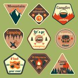 Outdoors tourism camping flat badges set. Of compass campfire tent and backpack isolated vector illustration royalty free illustration