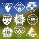 Outdoors tourism camping flat emblems set. Of mountain trees and nature isolated vector illustration Royalty Free Stock Image