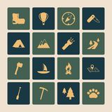 Outdoors Tourism Camping Flat Icons Set. Of road mountain tree and nature isolated vector illustration royalty free illustration