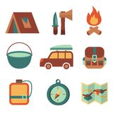 Outdoors tourism camping flat icons set. Of campfire tent backpack tools and map isolated vector illustration Royalty Free Stock Photos
