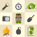 Outdoors tourism camping icons set. Outdoors tourism camping colorful icons set of compass map tent and backpack isolated vector illustration Stock Photos