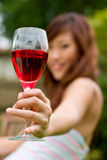 Outdoors with wine Stock Photography