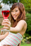 Outdoors with wine Royalty Free Stock Image