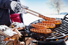 Outdoors winter barbecue party Stock Image