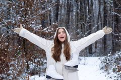 Outdoors. women on mountain. Winter woman happy. Winter woman snow. Global cooling. Women in winter clothes. royalty free stock images