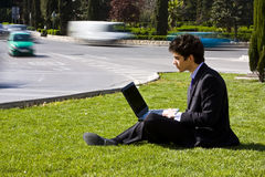 Outdoors working businessman Stock Photos