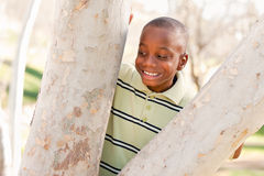 Outdoorsy African American Boy Playing in the Park Stock Images