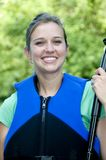 Outdoorsy female wearing a life jacket Royalty Free Stock Photos