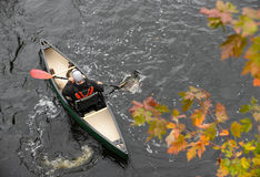 Outdoorsy man in a kayak in the fall Royalty Free Stock Photo