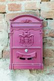 Outdoot pink post box in Greece. Outdoor pink post box in Greece Royalty Free Stock Photo
