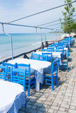 Outdor restaurant at the beach Stock Photos