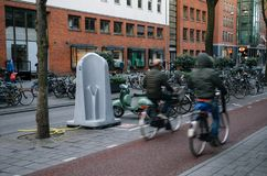Outdore street urinal in Amsterdam stock image