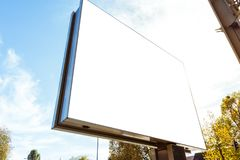 Outdors Modern Billboard Daytime Sun Flare Blank Isolated White. Mockup Large City Royalty Free Stock Images
