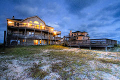 Outer Banks Beach House with Pool at Night Stock Images