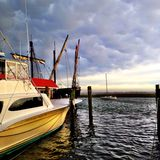 Outer banks North Carolina Morning boat Royalty Free Stock Image