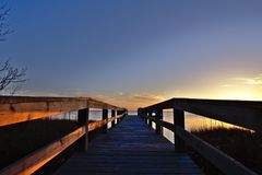 Outer Banks Spring Sunset. In Duck NC on the sound royalty free stock photography