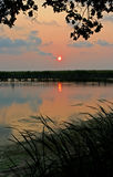 Outer Banks Sunset. Orange and pink sunset over the still water in a cove with surrounding grass and leaves in silhouette stock photography