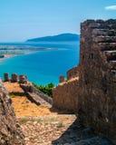 Outer Castle wall in Nafpaktos central Greece Stock Photos