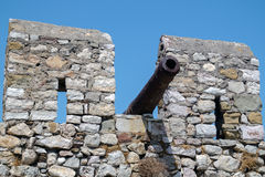Outer Castle wall in Nafpaktos, Greece. Outer Castle wall in Nafpaktos central Greece Stock Photo