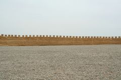 The outer city wall of jiayuguan, China stock photography