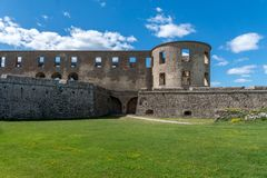 Outer corner of the castle ruin Borgholm in Sweden Royalty Free Stock Image