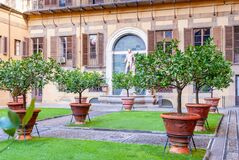 Free Outer Courtyard Of The Medici Riccardi Palace, Which Has An Italian Garden With Statues And Tubs With Plants Stock Images - 169067064