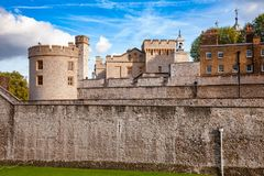 Tower of London outer curtain wall detail. The outer curtain wall of Tower of London, a historic castle and popular tourist attraction on the north bank of the Royalty Free Stock Photo