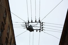 Outer electrical interconnection. In a street of Lviv, Ukraine Royalty Free Stock Photos