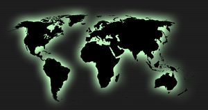 Outer glow world map Royalty Free Stock Images