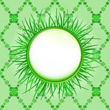 Outer grass circle label with foliage  pattern Stock Images