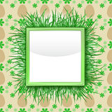 Outer grassy square frame with easter egg pattern  Royalty Free Stock Photo