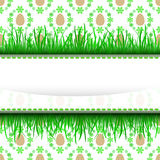 Outer grassy stripe frame with easter egg pattern  Stock Photo