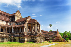 Outer hallway and Buddhist Stupa in Angkor Wat, Cambodia Stock Photo