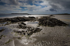 Outer Hebrides beach scene. Sandy beach and rocks in North Uist in the Outer Hebrides Royalty Free Stock Photo