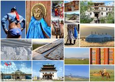 Outer Mongolia photos collage Stock Photos