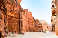 The Outer Siq Tombs, Petra, Jordan. The Outer Siq Tombs made by digging a holes in the rocks during Roman Empire period. Petra- Nabataeans capital city, Jordan stock photo