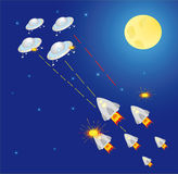 Outer Space. Ship and star - Vector Illustration stock illustration