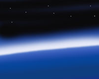 Outer space. Earth, sea, sky stars and space at horizon Stock Images