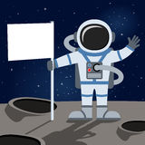 Outer Space Astronaut Holding Flag. A cartoon spaceman with a blank flag on a unknown planet of the universe, on a dark blue outer space background with bright vector illustration