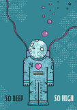 Outer Space Astronaut in Love Line Art Romantic Stock Photography